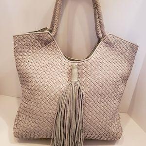 Sam Edelman Bags - Sam Edelman Gray Woven Leather Tassel Shoulder Bag